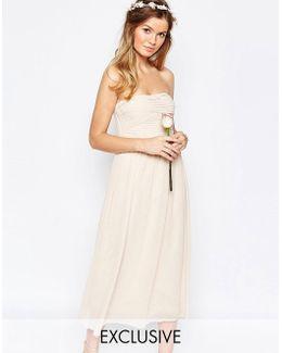 Ruched Bodice Bandeau Midi Dress