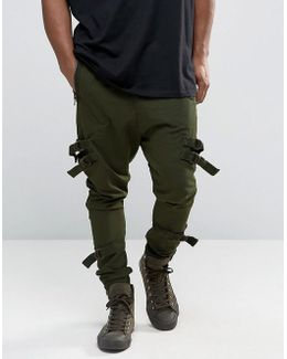 Drop Crotch Joggers With Taping In Dark Khaki
