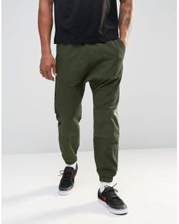 Drop Crotch Joggers In Cropped Length With Panel Detail
