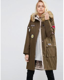 Badged Parka With Satin Lining