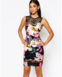 Floral Pencil Dress With Lace Insert