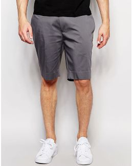 Skinny Mid Length Tailored Shorts In Grey