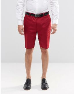 Skinny Mid Length Tailored Shorts In Red