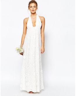 Cutwork Lace Halterneck Full Prom Maxi Dress