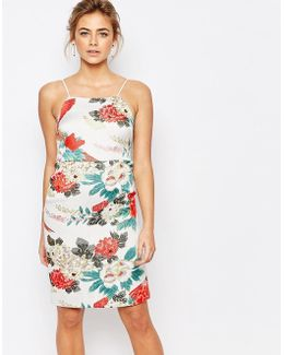 Cami Strap Pencil Dress In Floral Garden Jacquard