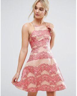 Lace Panel Mini Dress With Flippy Hem