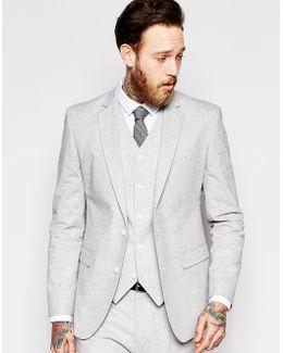 Slim Blazer In Grey Nepp Fabric