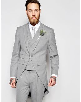 Wedding Skinny Morning Suit Jacket With Tails In Grey