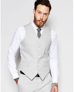 Slim Waistcoat In Grey Nepp Fabric