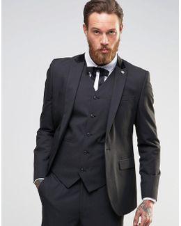 Slim Suit Jacket In Black Tonic