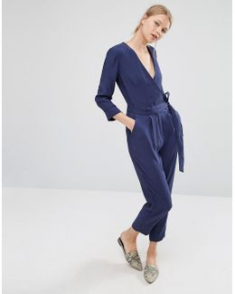 Belted Jumpsuit With Wrap Front