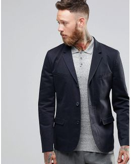 Skinny Blazer In Washed Cotton In Navy