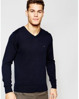 V Neck Jumper In Navy