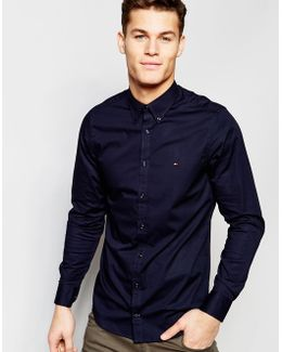 Poplin Shirt With Stretch In Slim Fit In Navy
