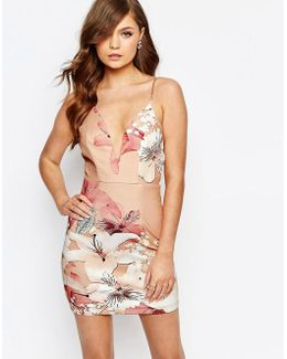 Plunge Bodycon Dress In Oversized Floral