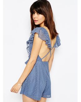 Ruffle Back Lace Playsuit