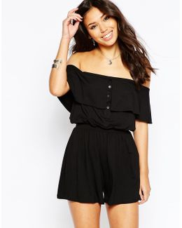 Off Shoulder Bandeau Playsuit With Buttons