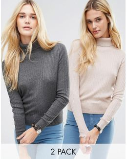 Jumper With High Neck In Rib 2 Pack Save 20%