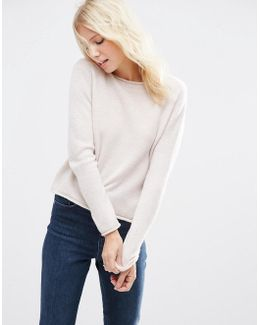 Cropped Jumper With Rolled Edge Detail In Fluffy Yarn