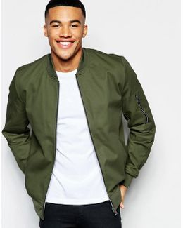 Cotton Bomber Jacket With Sleeve Zip In Khaki