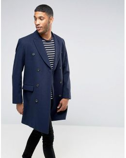 Wool Mix Double Breasted Overcoat In Navy