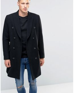 Wool Mix Double Breasted Overcoat In Black
