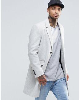 Wool Mix Overcoat In Grey Marl