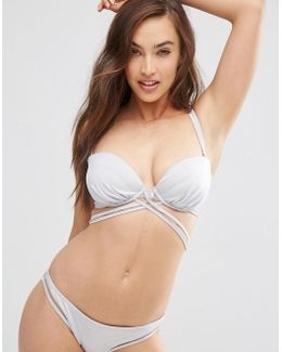 Fuller Bust Mix And Match Silver Multi Wrap Bandeau Bikini Top Dd-g