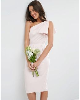 Wedding One Shoulder Structured Bow Dress