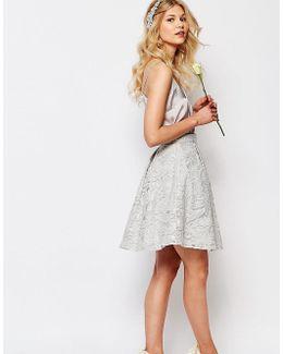 Chi-chi London Petite Allover Sequin Baroque Detail Full Midi Prom Skirt