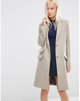 Wool Blend Slim Coat With Pocket Detail