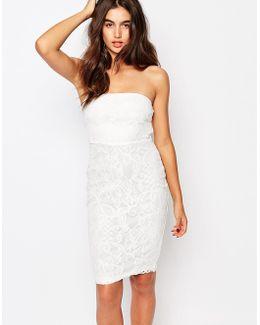 Floral Bandeau Lace Midi Dress