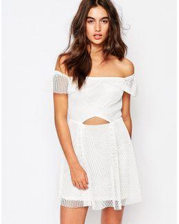 Bardot Grid Lace Prom Dress