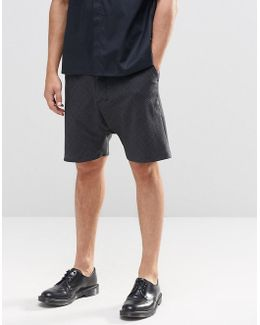 Drop Crotch Tailored Shorts In Dark Grey Check