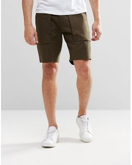 Long Length Tailored Shorts With Pockets In Khaki