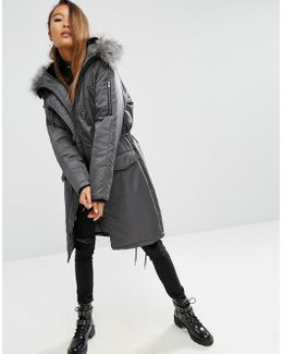Premium Padded Parka With Fur Lined Hood