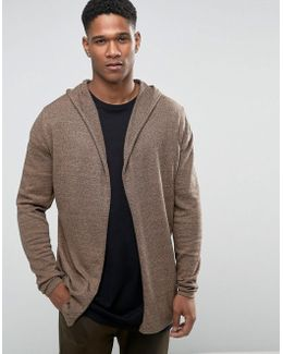 Knitted Hoody Cardigan In Cotton