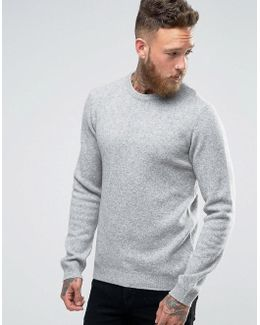 Lambswool Rich Crew Neck Jumper In Light Grey