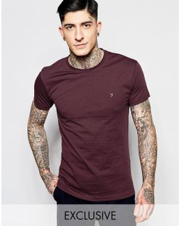 T-shirt With F Logo In Slim Fit In Bordeaux Exclusive