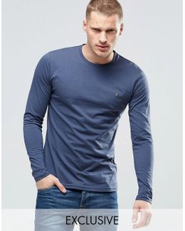 Long Sleeve T-shirt With F Logo In Slim Fit In Navy