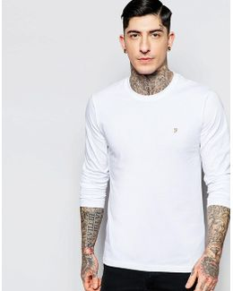 Long Sleeve T-shirt With F Logo In Slim Fit In White Exclusive