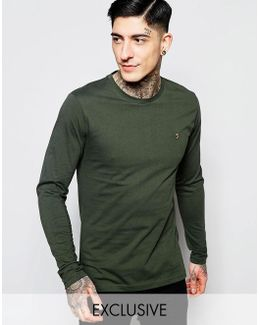 Long Sleeve T-shirt With F Logo In Slim Fit In Green Exclusive