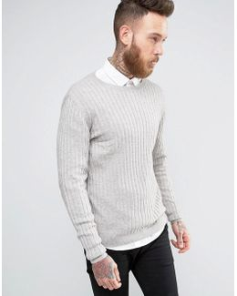 Muscle Fit Ribbed Jumper In Grey