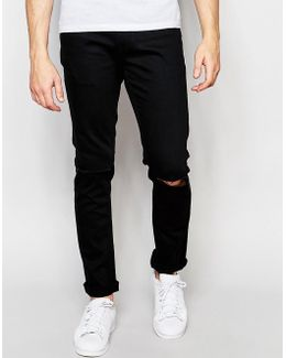 Black Slim Fit Jeans With Ripped Knee