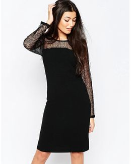Bodycon Dress With Sheer Sleeves