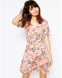 Skater Dress With Ruffle Detail In Pretty Floral Print