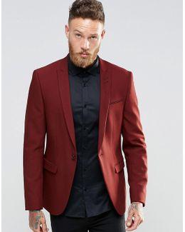Skinny Blazer In Red With Peak Lapel
