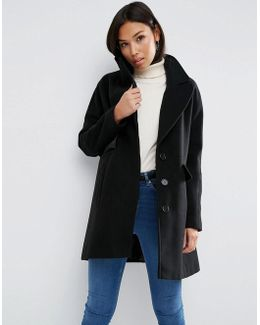 Coat With Batwing Sleeve And Swing Shape