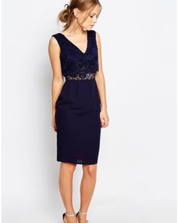 2 In 1 Lace Top Pencil Dress