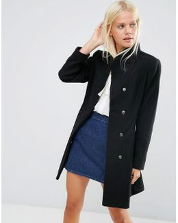 Skater Coat In Wool Blend With Funnel Neck